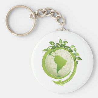 Recycle environmental concerned basic round button key ring