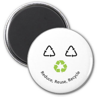 Recycle Funny Face 6 Cm Round Magnet