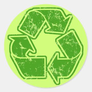 Recycle Graphic Vintage Round Sticker