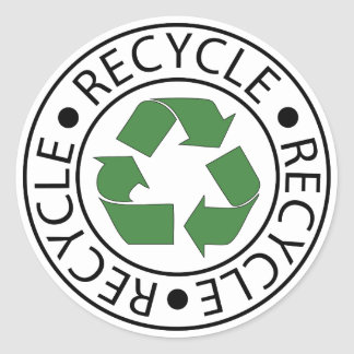 Recycle Green Center Logo Classic Round Sticker