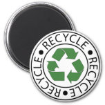 Recycle Green Centre Logo 6 Cm Round Magnet