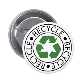 Recycle Green Ceter Logo Pinback Buttons