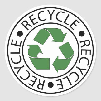 Recycle Green Ceter Logo Round Sticker