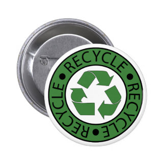 Recycle Green Logo BK Letters Pinback Buttons