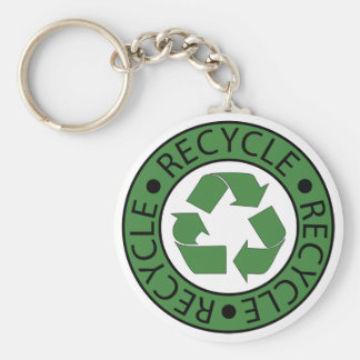 Recycle Green Logo BK Letters Basic Round Button Key Ring