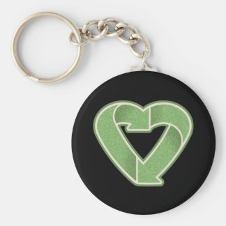 Recycle Heart Basic Round Button Key Ring