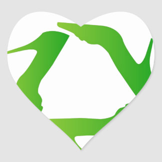 recycle icon made with shoes heart stickers
