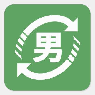 Recycle Japanese Boys   Kanji Nihongo Sign Square Sticker