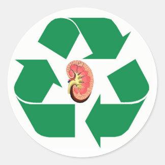 Recycle kidney round sticker