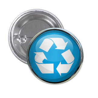 Recycle Logo in Glass Chrome Pinback Button