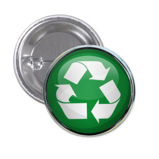 Recycle Logo in Glass Chrome Button