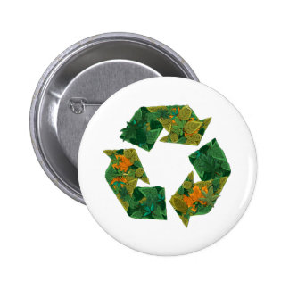 Recycle logo made of leaves pins