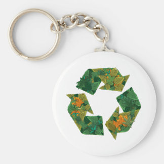 Recycle logo made of leaves. basic round button key ring
