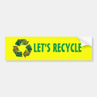 Recycle logo made of leaves. bumper sticker