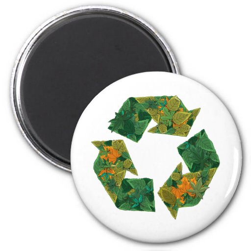 Recycle logo made of leaves. refrigerator magnet