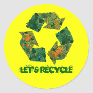 Recycle logo made of leaves. round sticker