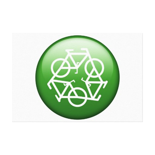 Recycle Logo w/ Bicycles Canvas Print
