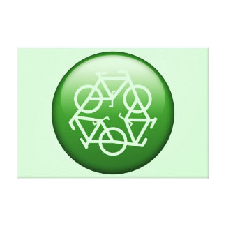 Recycle Logo w/ Bicycles Gallery Wrapped Canvas