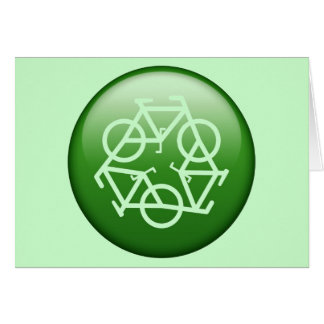 Recycle Logo w/ Bicycles Greeting Cards