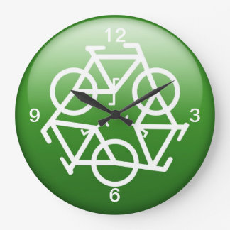 Recycle Logo w/ Bicycles Wall Clocks