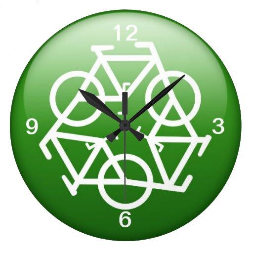 Recycle Logo w/ Bicycles Wall Clocks