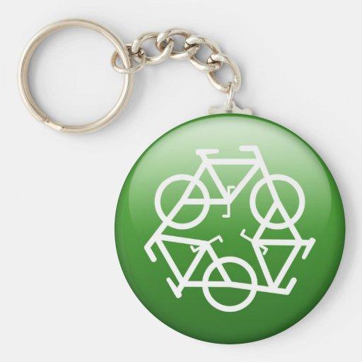 Recycle Logo w/ Bicycles Keychain
