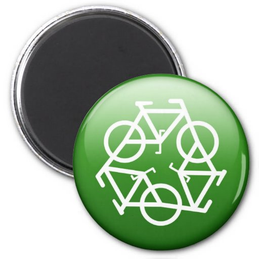 Recycle Logo w/ Bicycles Magnets