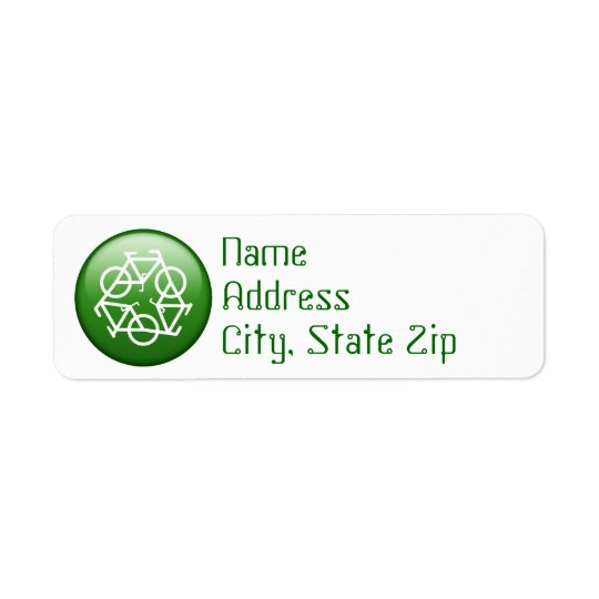 Recycle Logo w/ Bicycles Return Address Label