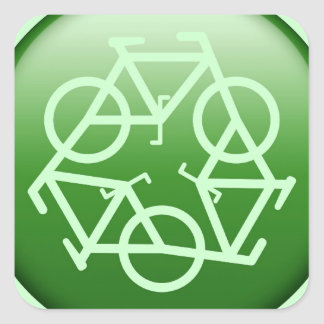 Recycle Logo w/ Bicycles Square Sticker