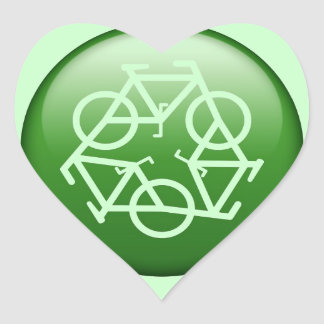 Recycle Logo w/ Bicycles Heart Sticker