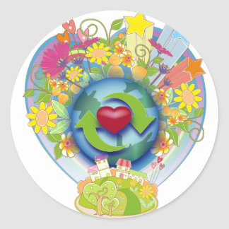 Recycle Love Round Sticker