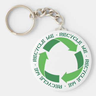 Recycle me basic round button key ring
