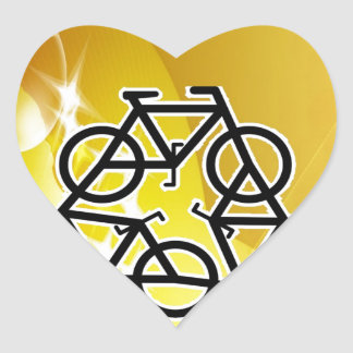 recycle motion of bike and life heart sticker