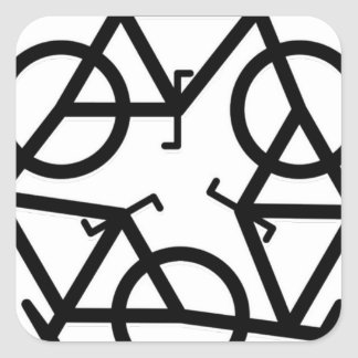 recycle motion of bike and life square sticker