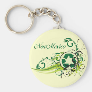 Recycle New Mexico Basic Round Button Key Ring