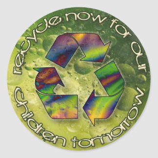 recycle now round sticker