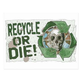 Recycle or Die Skull Postcard