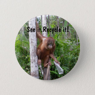 Recycle  Plastic Trash Conservation 6 Cm Round Badge