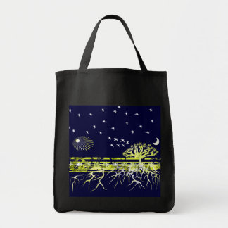 Recycle Pure White Roots Grocery Tote Bag