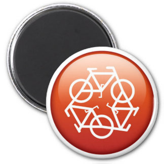 recycle-red 6 cm round magnet