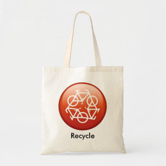 recycle-red budget tote bag