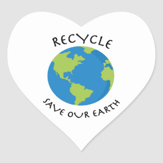 Recycle & Save Heart Sticker