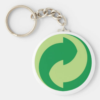 recycle sign basic round button key ring