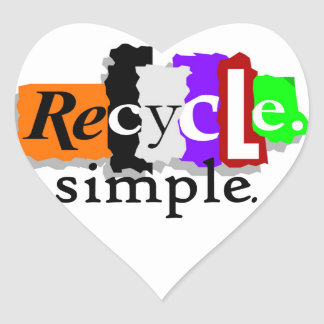 Recycle.simple. T-shirts and Gifts Heart Sticker