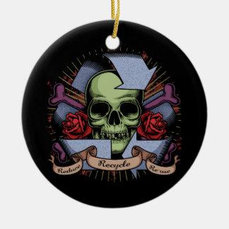 Recycle Skull w/Roses Round Ceramic Decoration