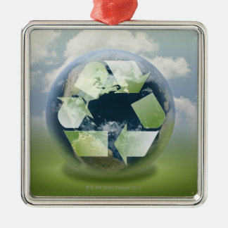 Recycle symbol and planet Earth Metal Ornament