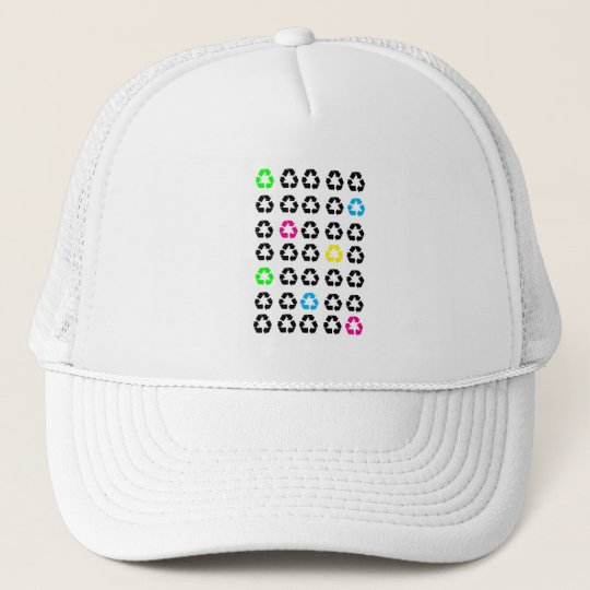 Recycle Symbol Enviornment Black Green Blue Yellow Trucker Hat