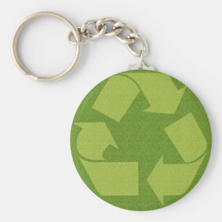 Recycle Symbol Grass Basic Round Button Key Ring