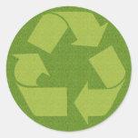 Recycle Symbol Grass Round Sticker