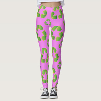 Recycle symbol isolated on pink background leggings